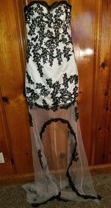 Ivory, High Low Corset Dress with Black Lace